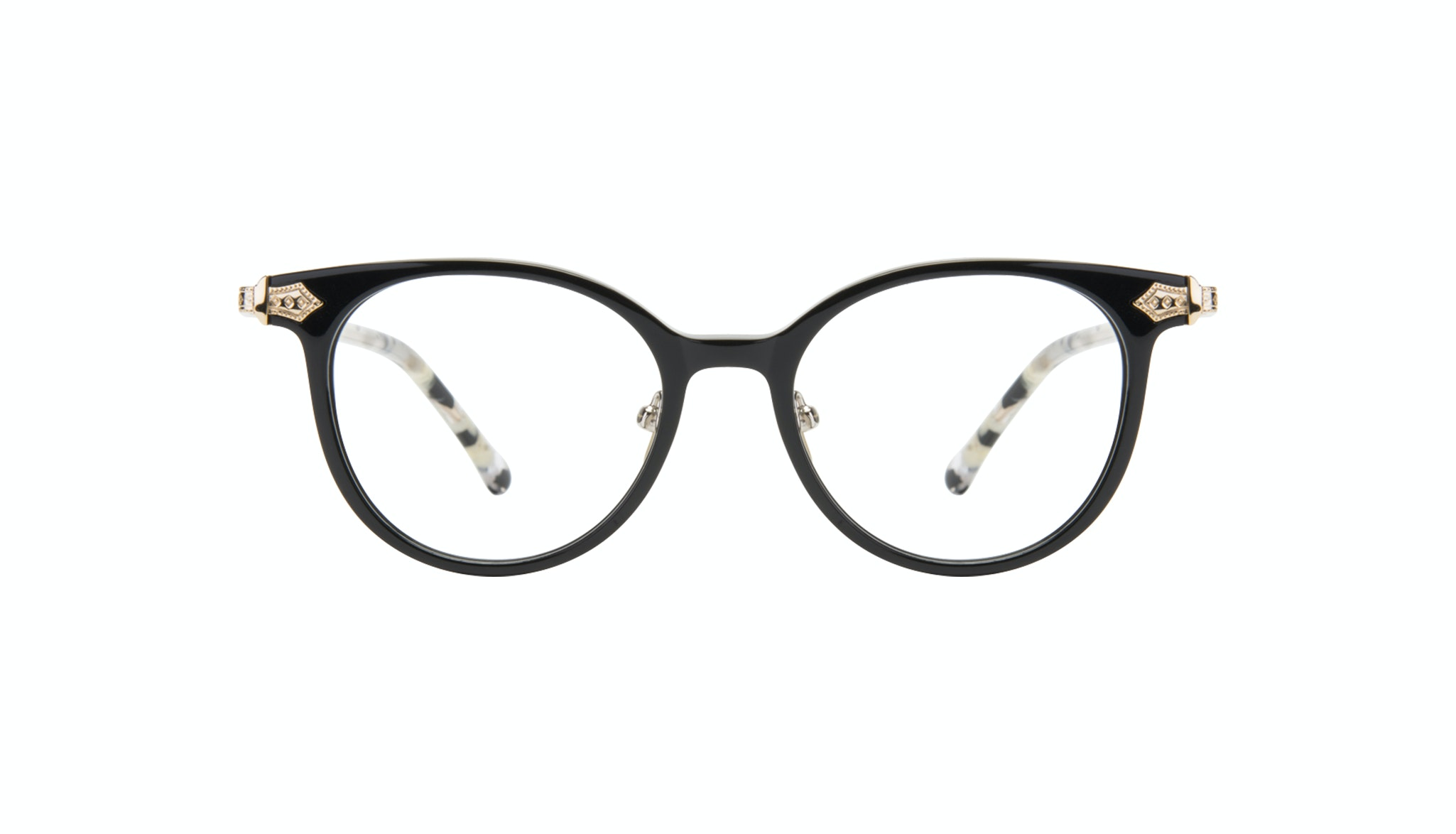 Affordable Fashion Glasses Round Eyeglasses Women Gem Onyx Marble Front