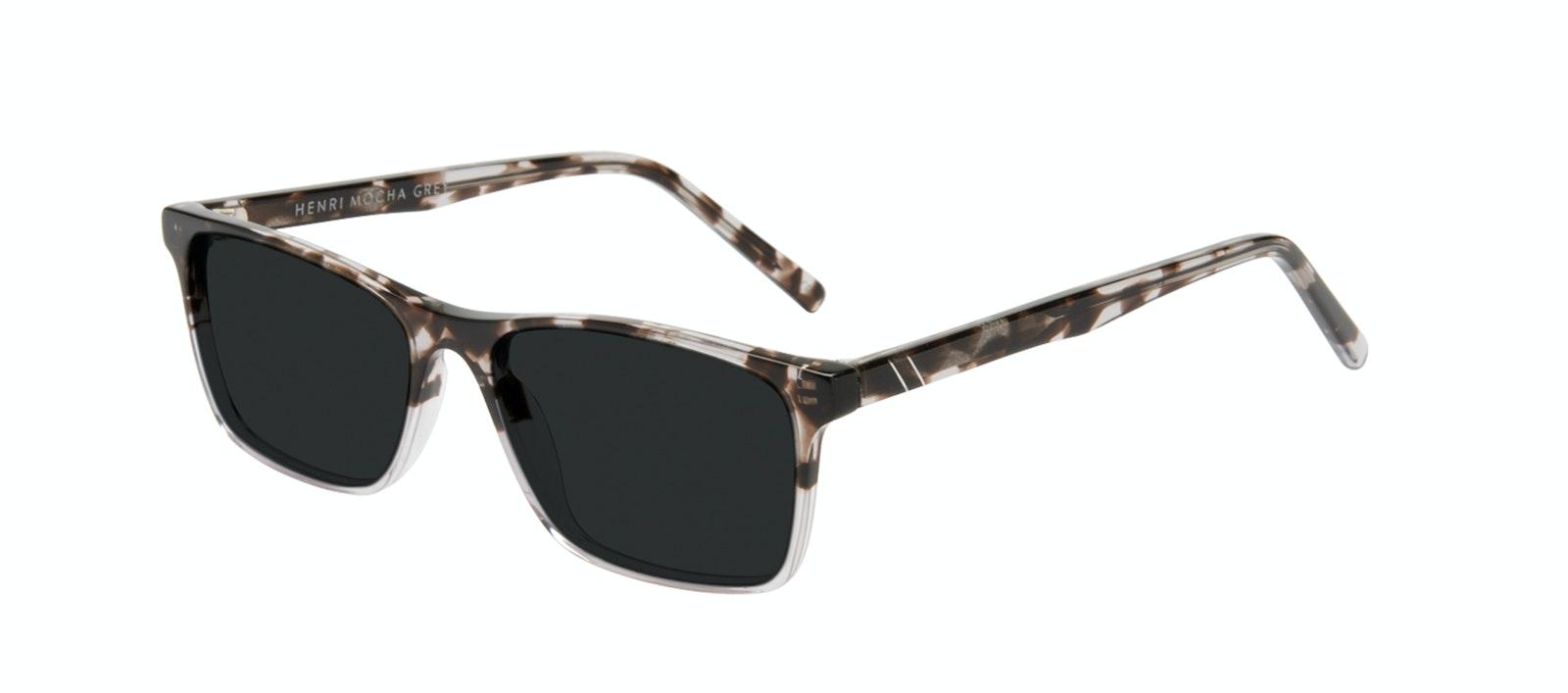 Affordable Fashion Glasses Rectangle Sunglasses Men Henri Mocha Grey Tilt