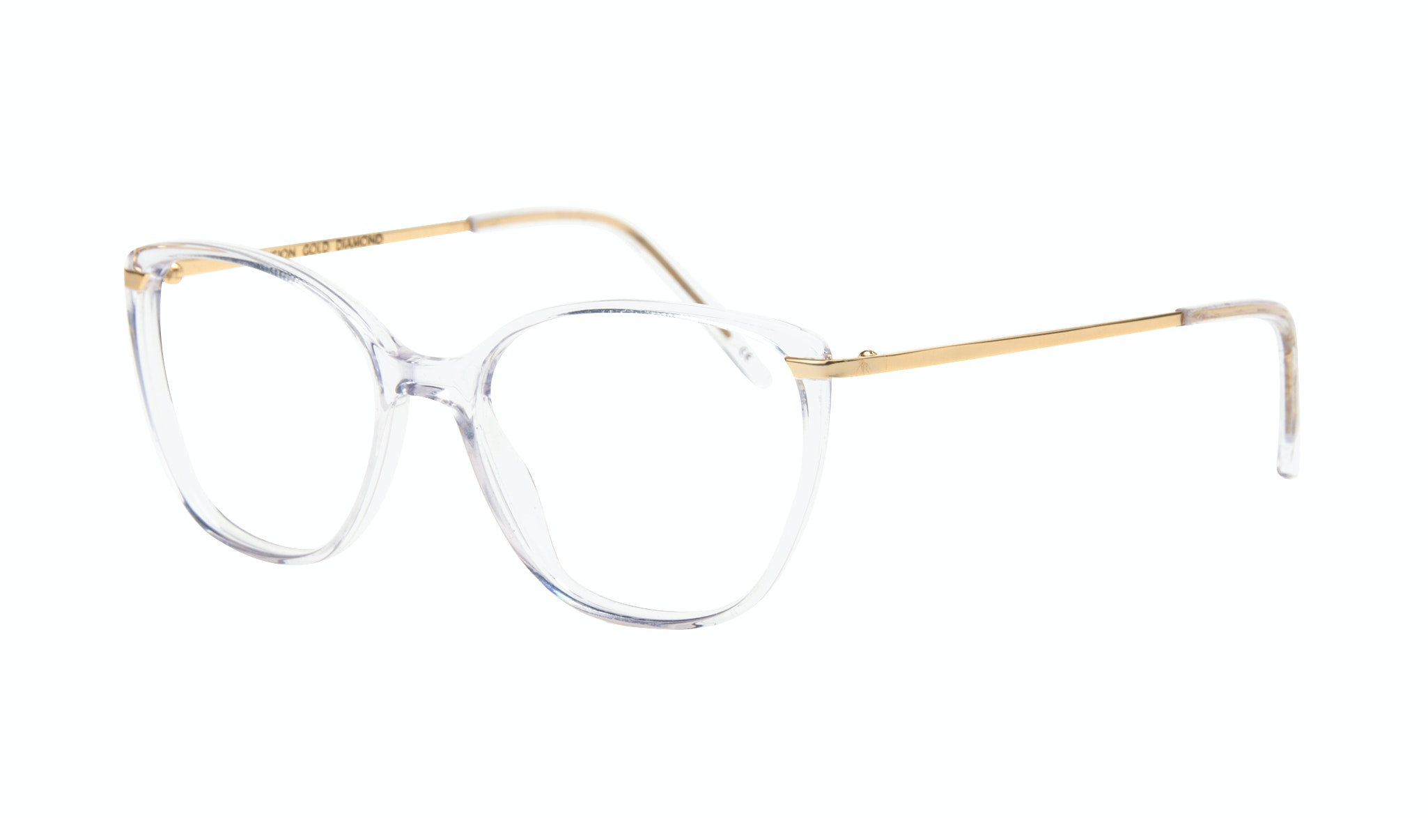 Lunettes tendance Oeil de chat Rectangle Carrée Lunettes de vue Femmes Illusion Gold Diamond Incliné