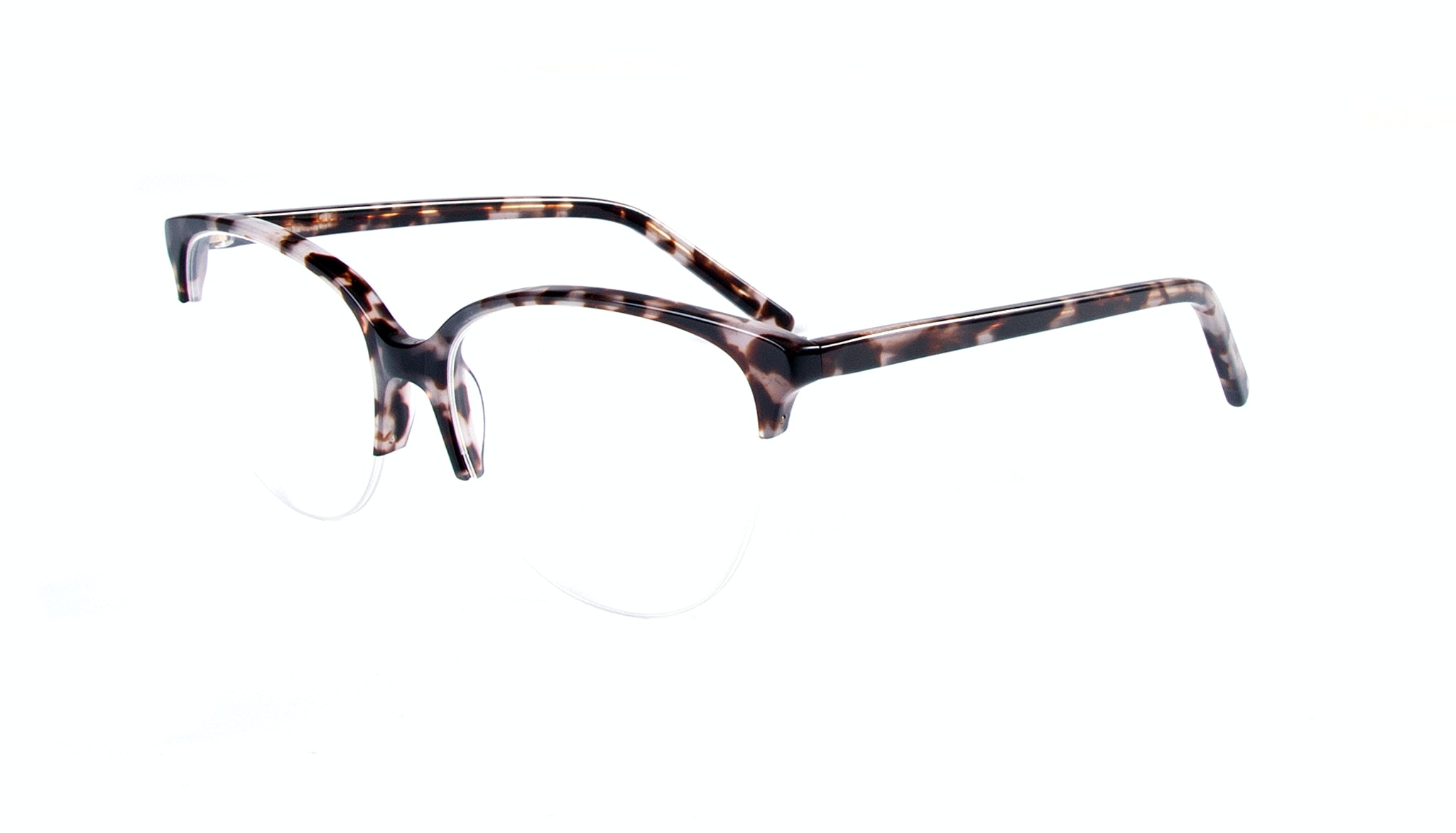 Affordable Fashion Glasses Cat Eye Round Semi-Rimless Eyeglasses Women Imagine Light Mocha Tortoise Tilt