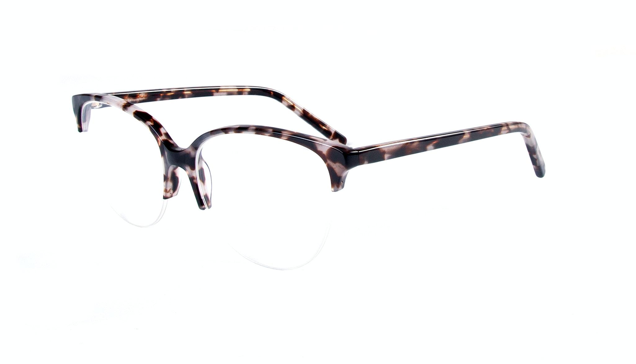 Affordable Fashion Glasses Cat Eye Round Semi-Rimless Eyeglasses Women Imagine Light Mocha Tortoise Tilt