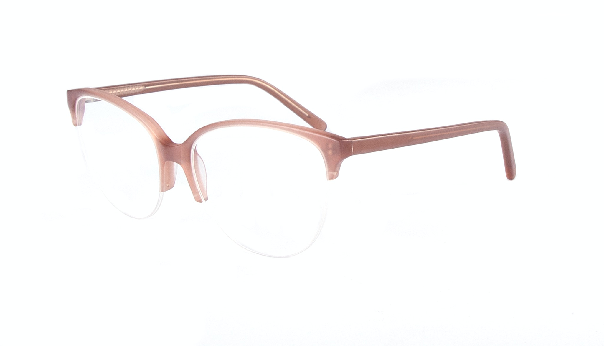 Affordable Fashion Glasses Cat Eye Round Semi-Rimless Eyeglasses Women Imagine Light Old Rose Tilt