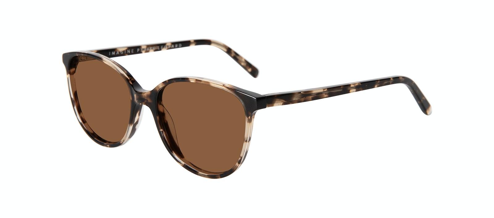 Lunettes tendance Ronde Lunettes de soleil Femmes Imagine Petite Leopard Incliné