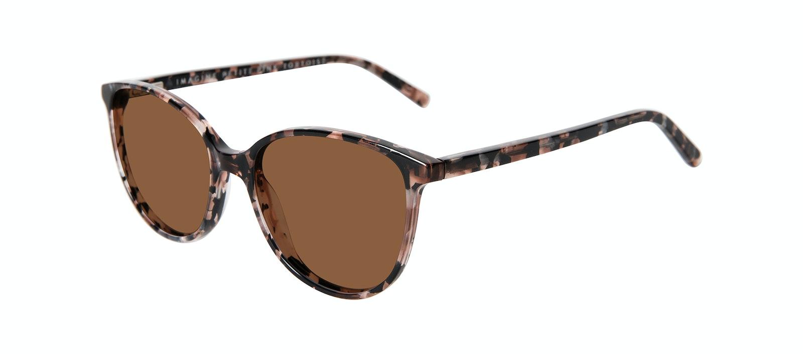 Affordable Fashion Glasses Round Sunglasses Women Imagine Petite Pink Tortoise Tilt