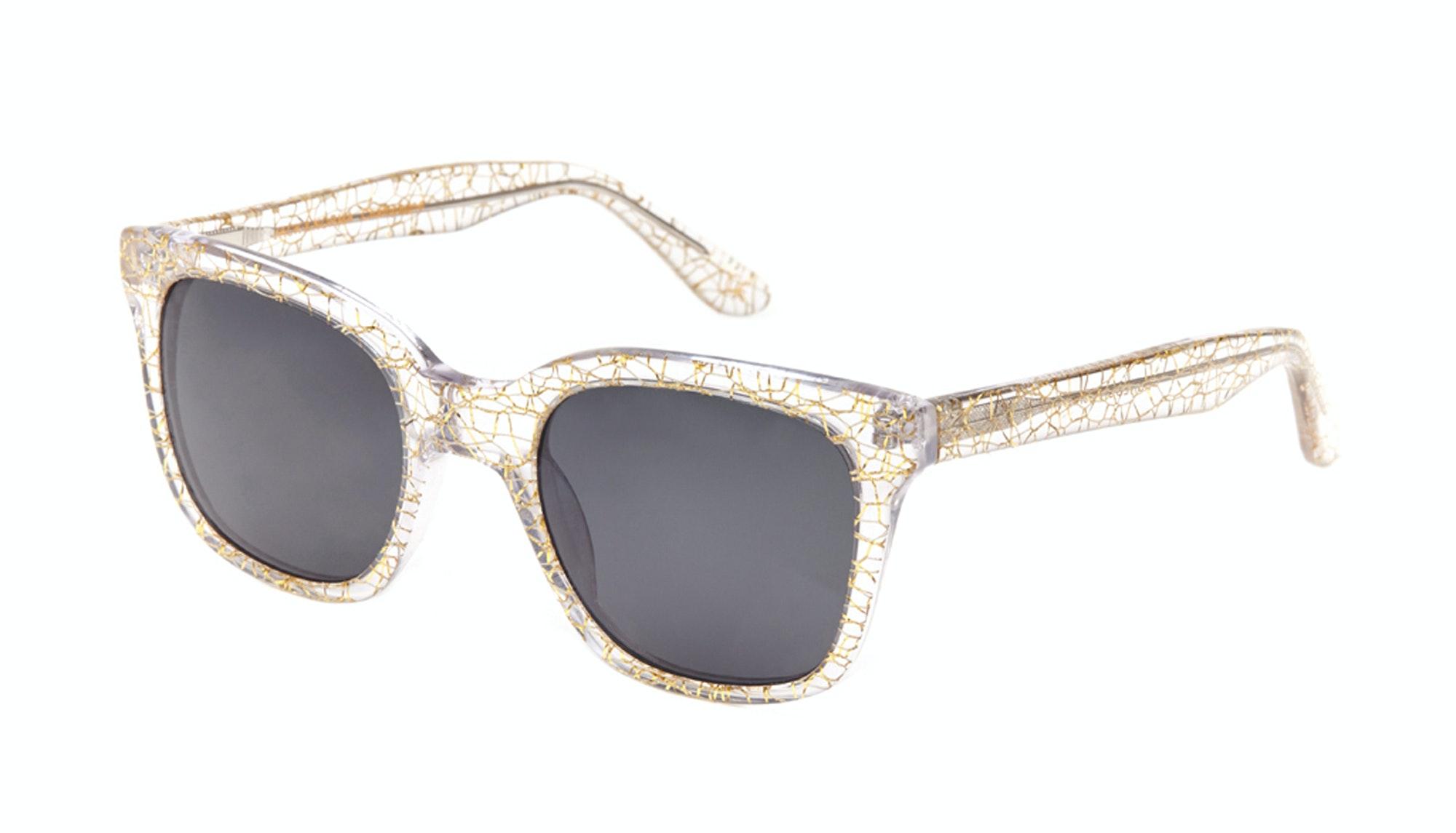 Lunettes tendance Rectangle Carrée Lunettes solaires Femmes Jack & Norma Champagne Incliné