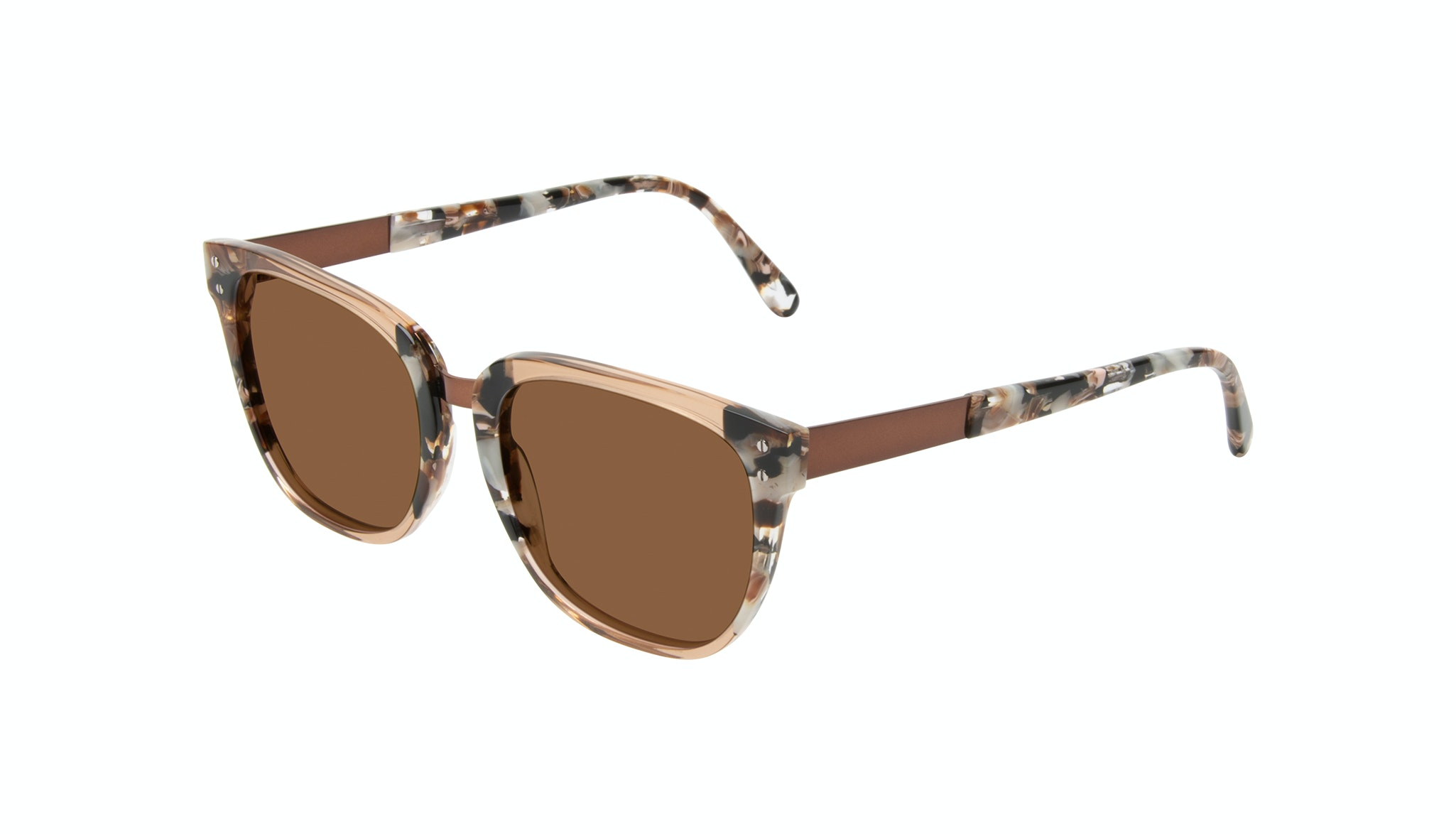 Affordable Fashion Glasses Square Sunglasses Women James Toffee Marble Tilt