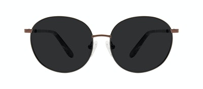 Affordable Fashion Glasses Round Sunglasses Women Joy Petite Black Copper Front