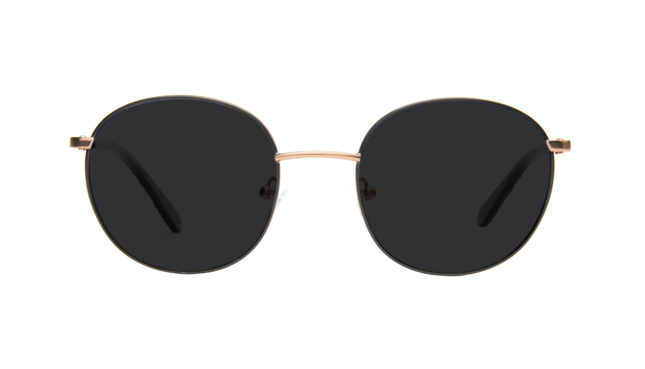 Affordable Fashion Glasses Round Sunglasses Women Joy Black Copper Front
