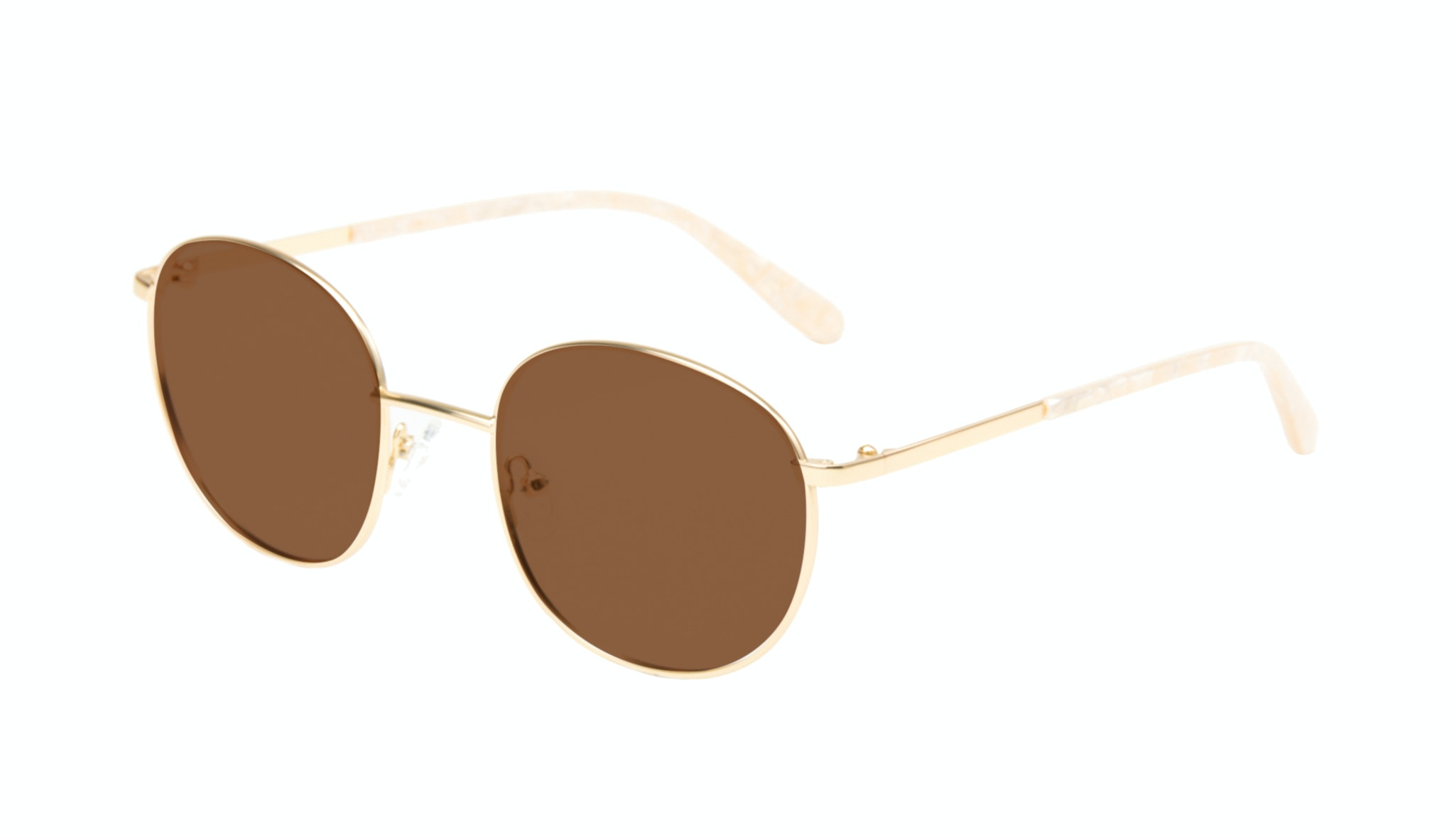 Affordable Fashion Glasses Round Sunglasses Women Joy Gold Marble Tilt