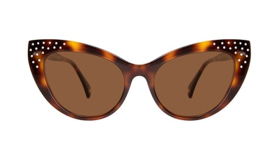 Affordable Fashion Glasses Cat Eye Daring Cateye Sunglasses Women Keiko Nicole Brunette Front