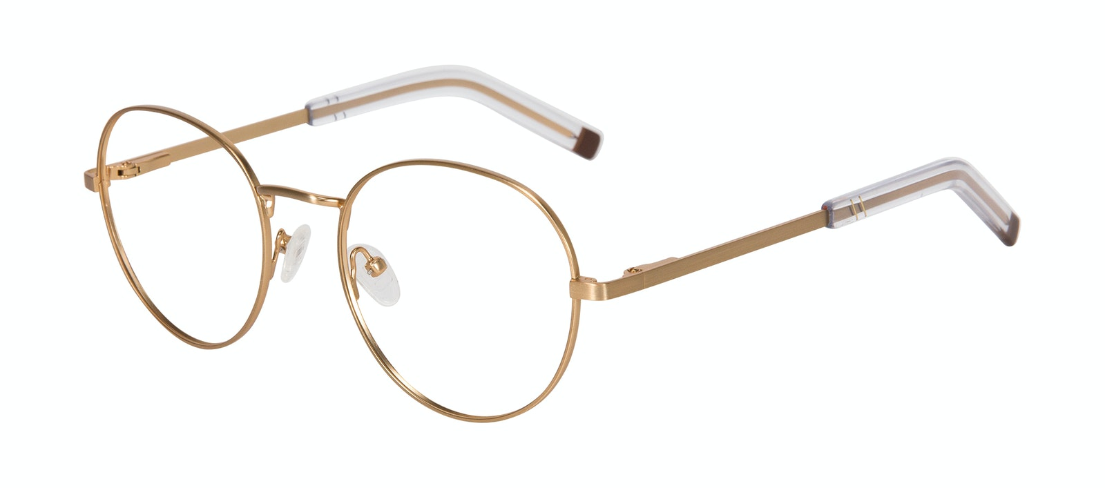 Affordable Fashion Glasses Round Eyeglasses Men Lean XL Gold Matte Tilt