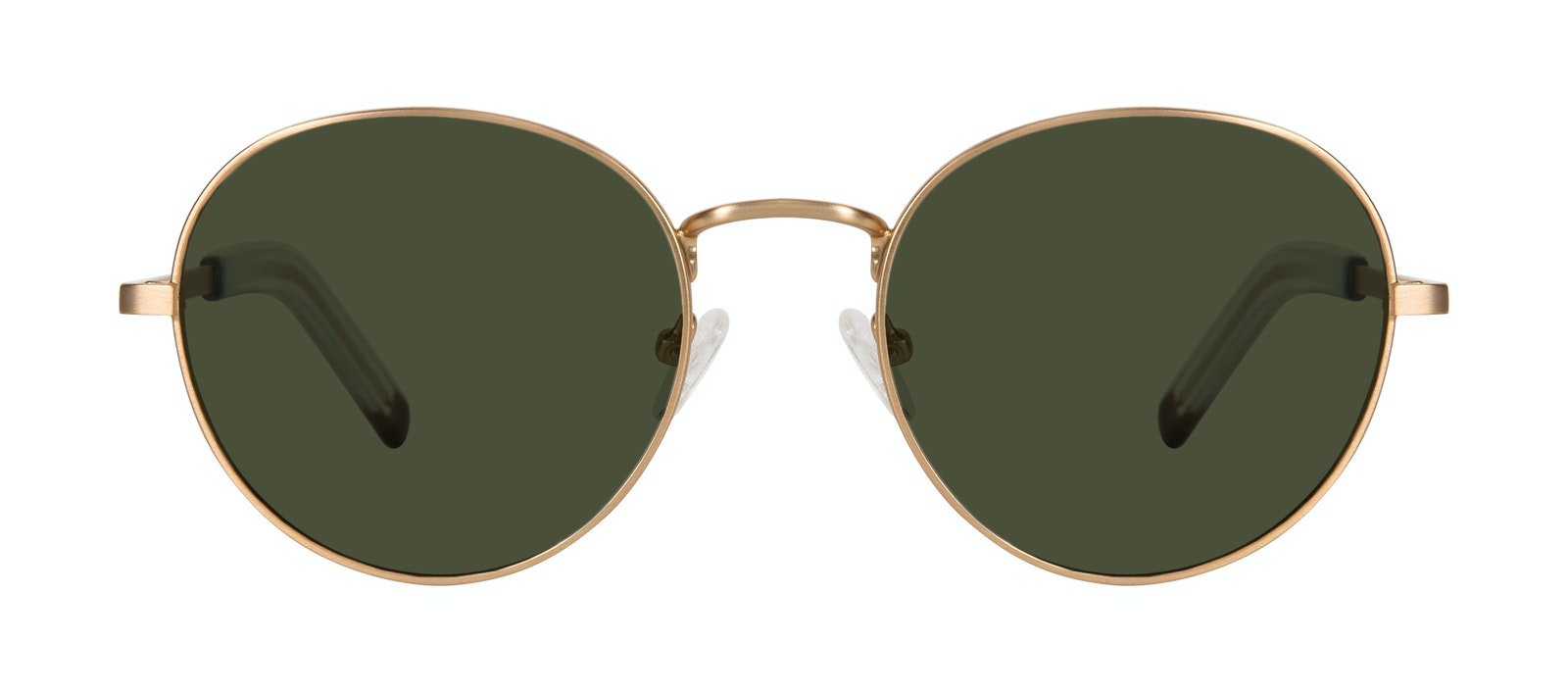 Affordable Fashion Glasses Round Sunglasses Men Lean L Gold Matte Front