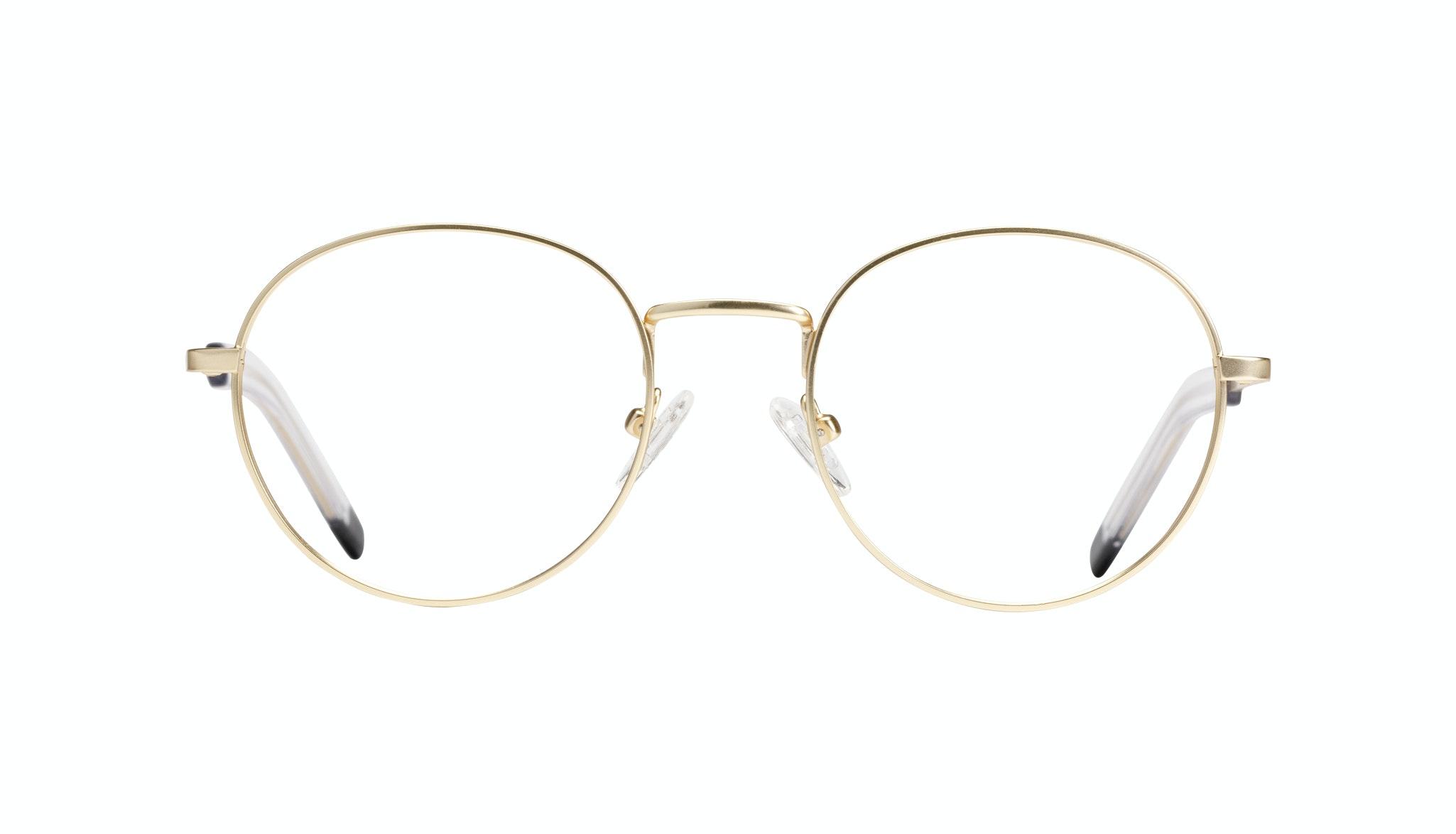 Affordable Fashion Glasses Round Eyeglasses Men Lean Gold Matte Front