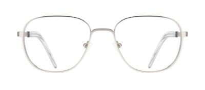 Affordable Fashion Glasses Rectangle Square Eyeglasses Men Line Silver Matte Front