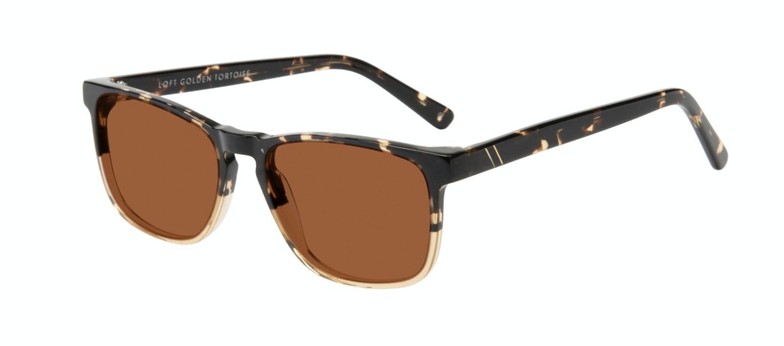 Affordable Fashion Glasses Rectangle Sunglasses Men Loft Golden Tortoise Tilt