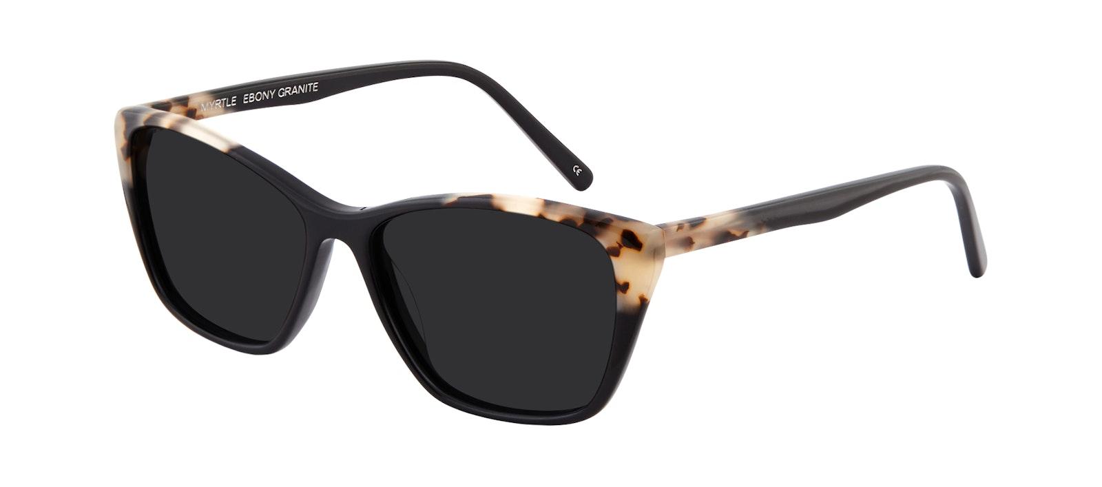 Affordable Fashion Glasses Cat Eye Rectangle Sunglasses Women Myrtle Ebony Granite Tilt
