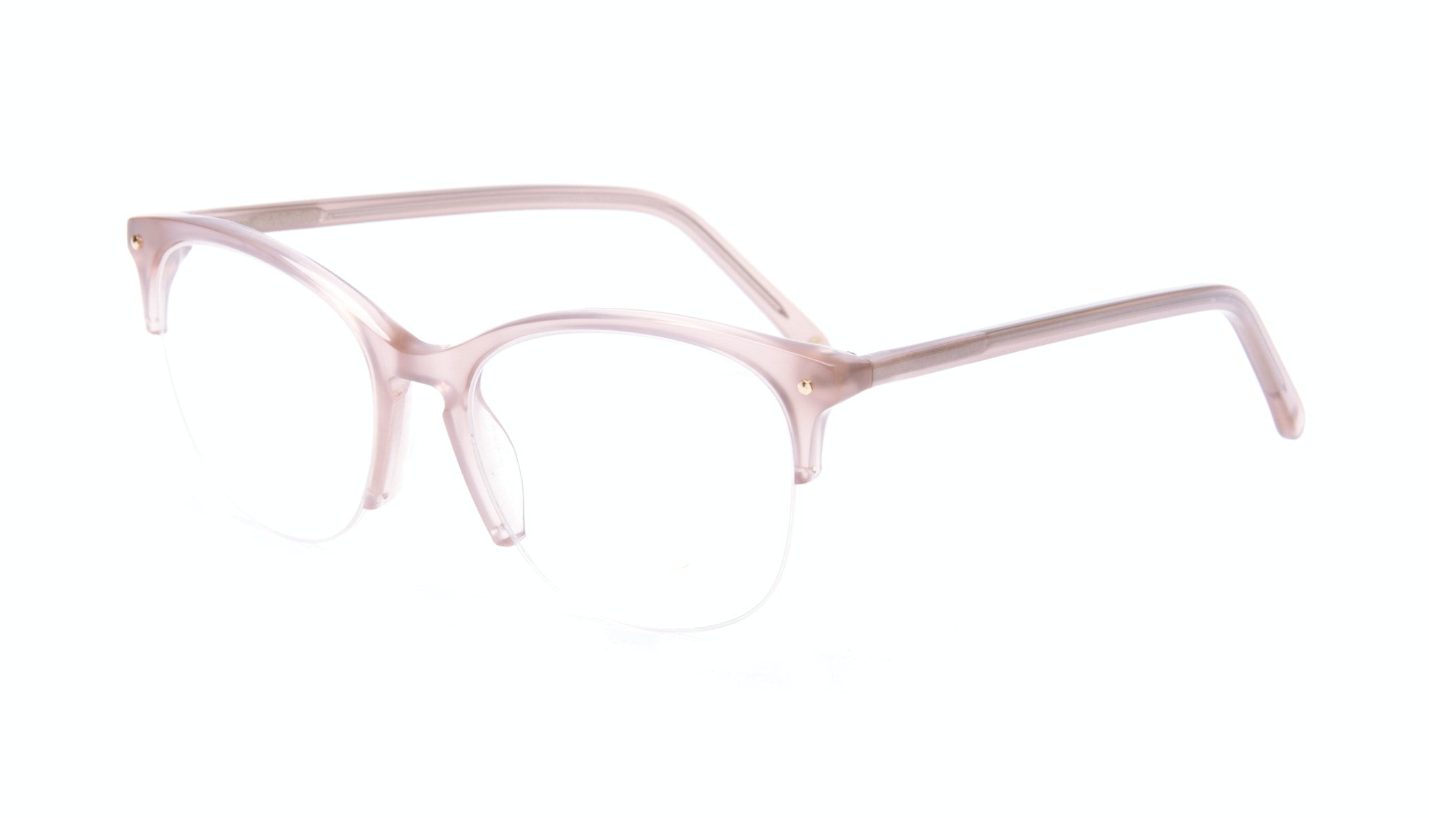 Affordable Fashion Glasses Rectangle Square Round Semi-Rimless Eyeglasses Women Nadine Light Pink Mouse Tilt