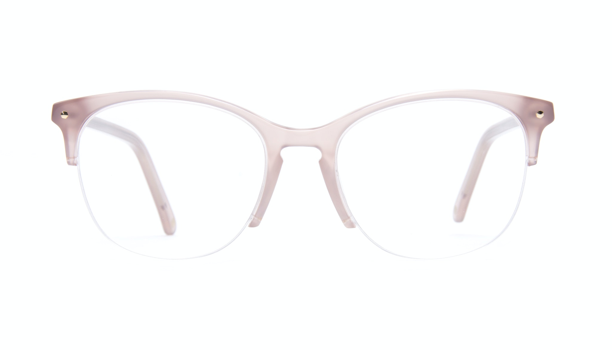Affordable Fashion Glasses Rectangle Square Round Semi-Rimless Eyeglasses Women Nadine Light Pink Mouse Front