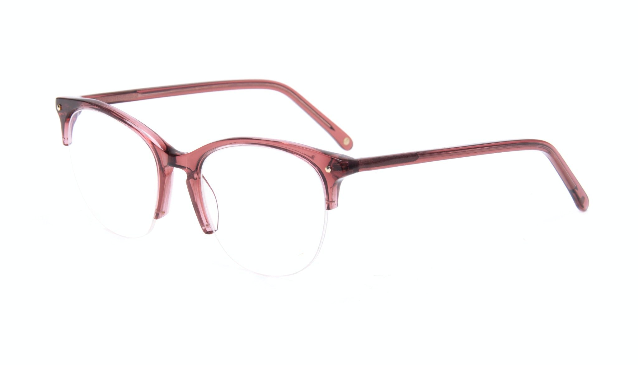 Affordable Fashion Glasses Rectangle Round Semi-Rimless Eyeglasses Women Nadine Light Winegum Tilt