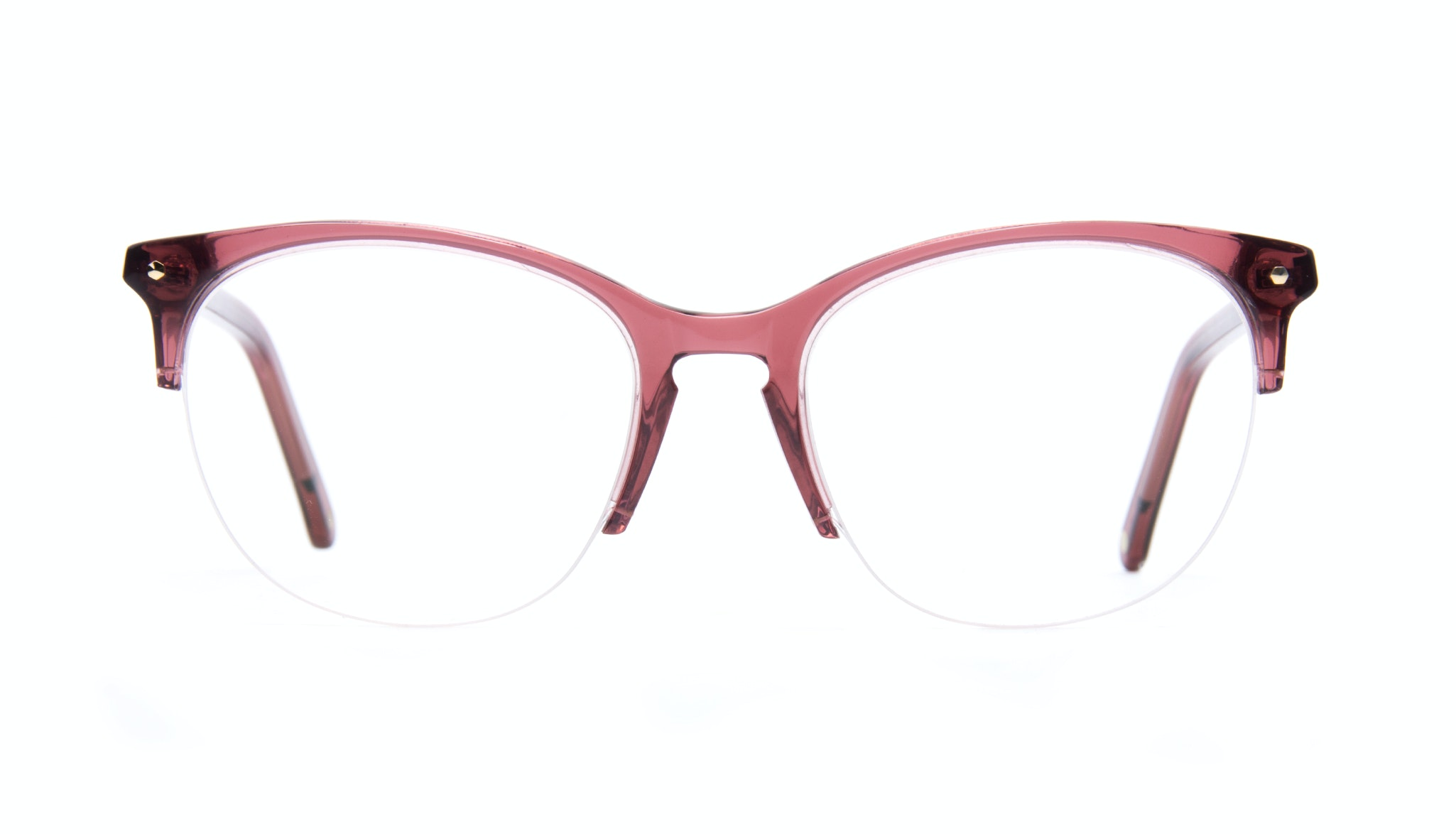 Affordable Fashion Glasses Rectangle Round Semi-Rimless Eyeglasses Women Nadine Light Winegum Front