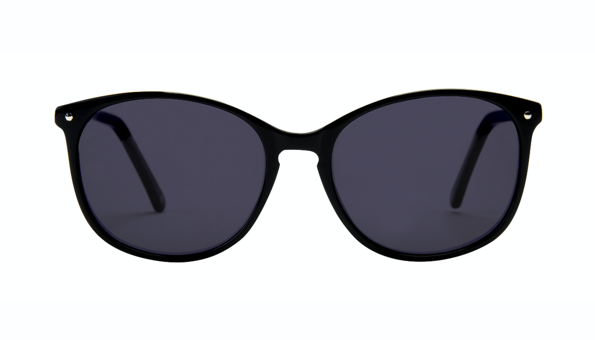 Affordable Fashion Glasses Rectangle Square Round Sunglasses Women Nadine Pitch Black Front
