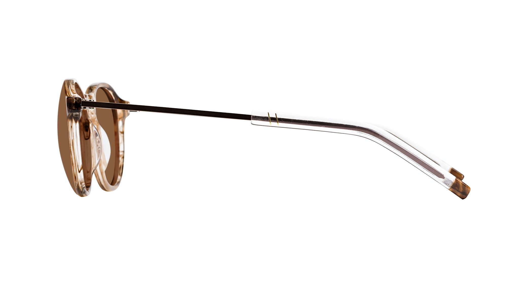 Affordable Fashion Glasses Round Sunglasses Men Prime Smokey Havana Side