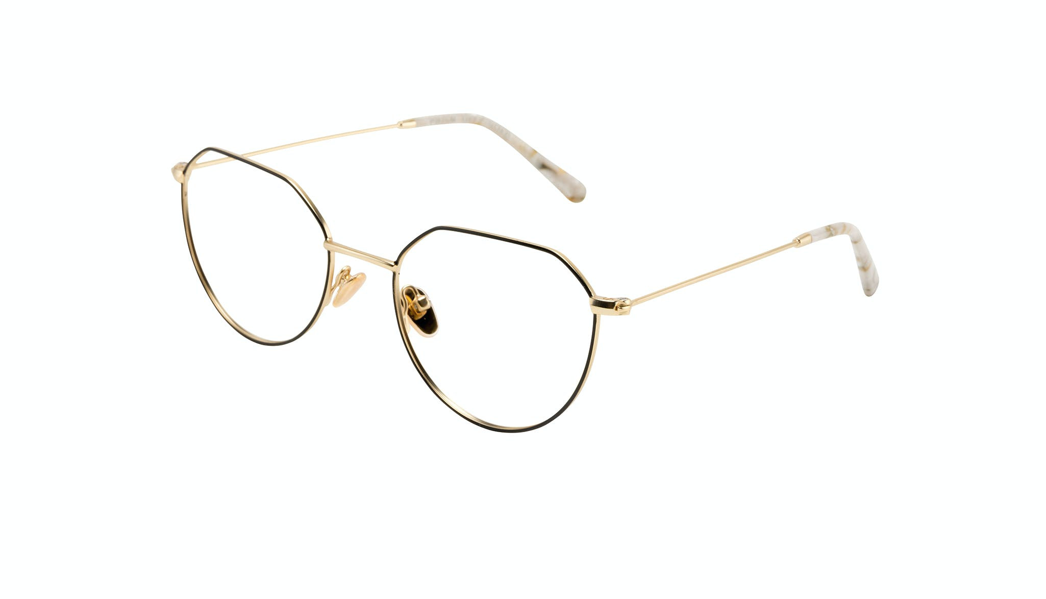 Affordable Fashion Glasses Round Eyeglasses Women Prism Deep Gold Tilt
