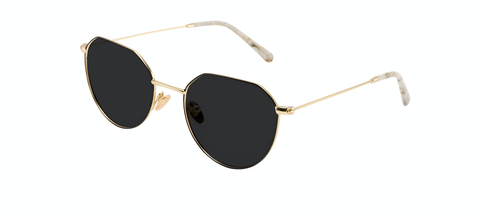 Affordable Fashion Glasses Round Sunglasses Women Prism Deep Gold Tilt