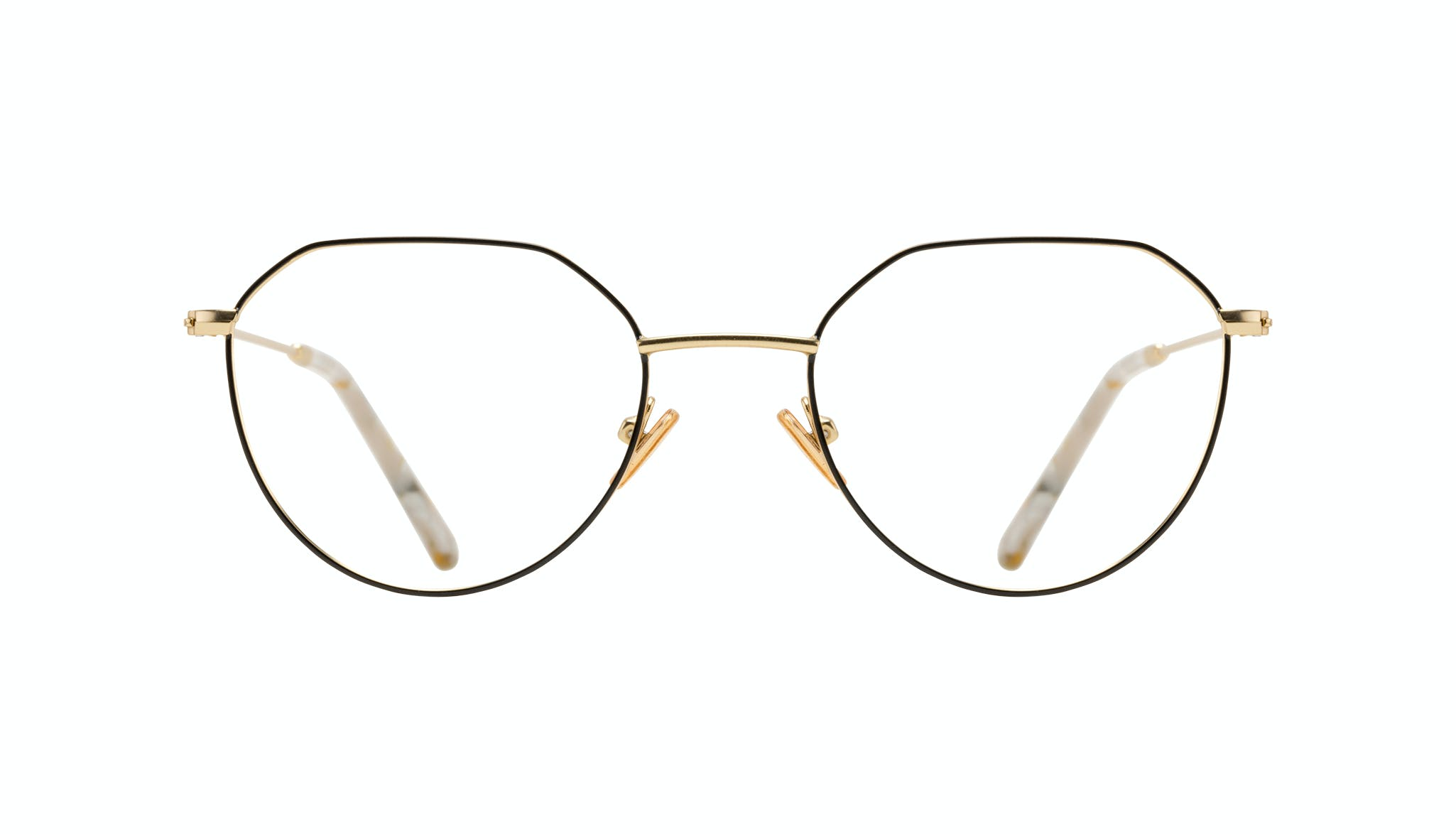 Affordable Fashion Glasses Round Eyeglasses Women Prism Deep Gold Front