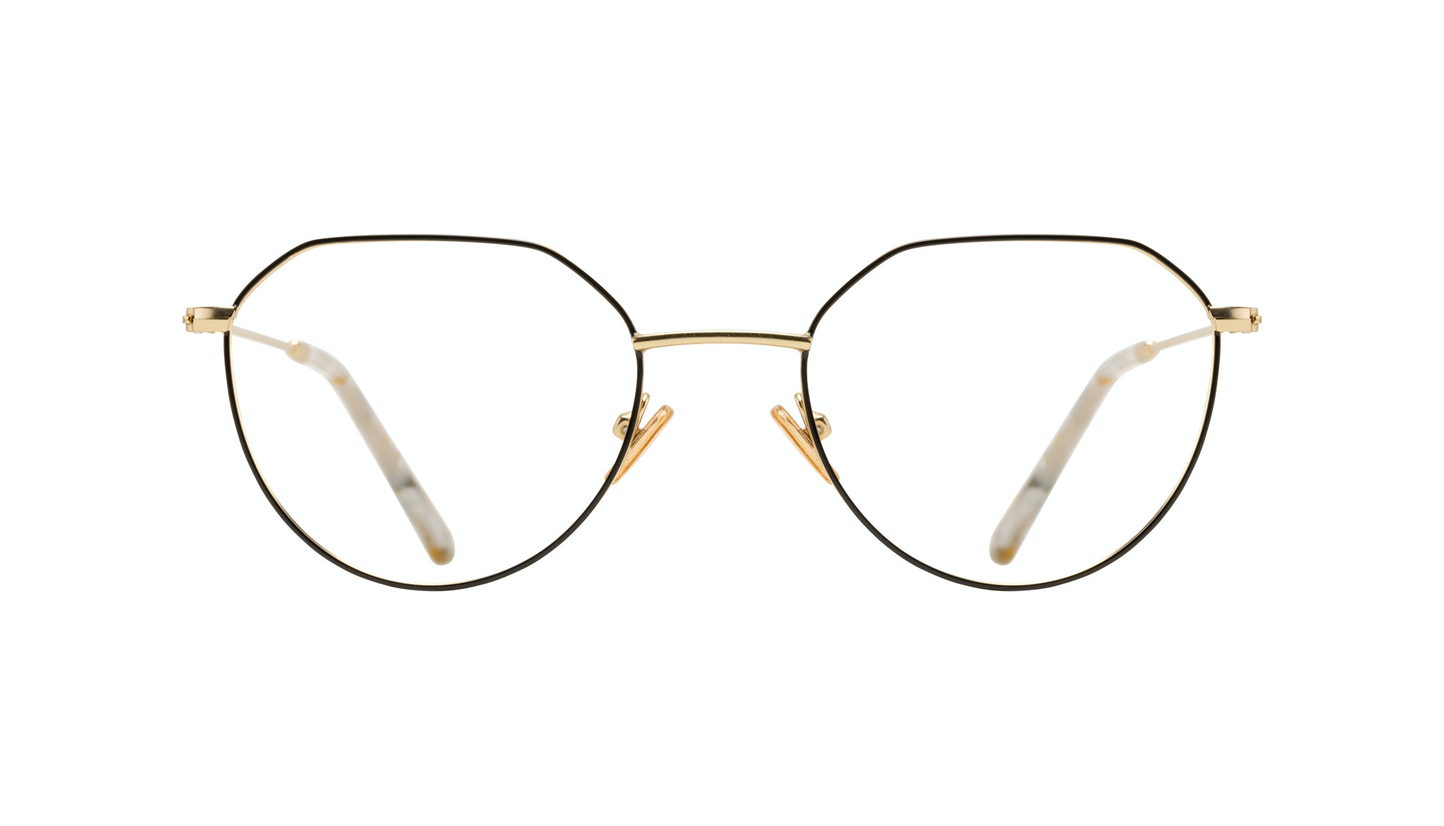 Affordable Fashion Glasses Round Eyeglasses Women Prism Deep Gold Front