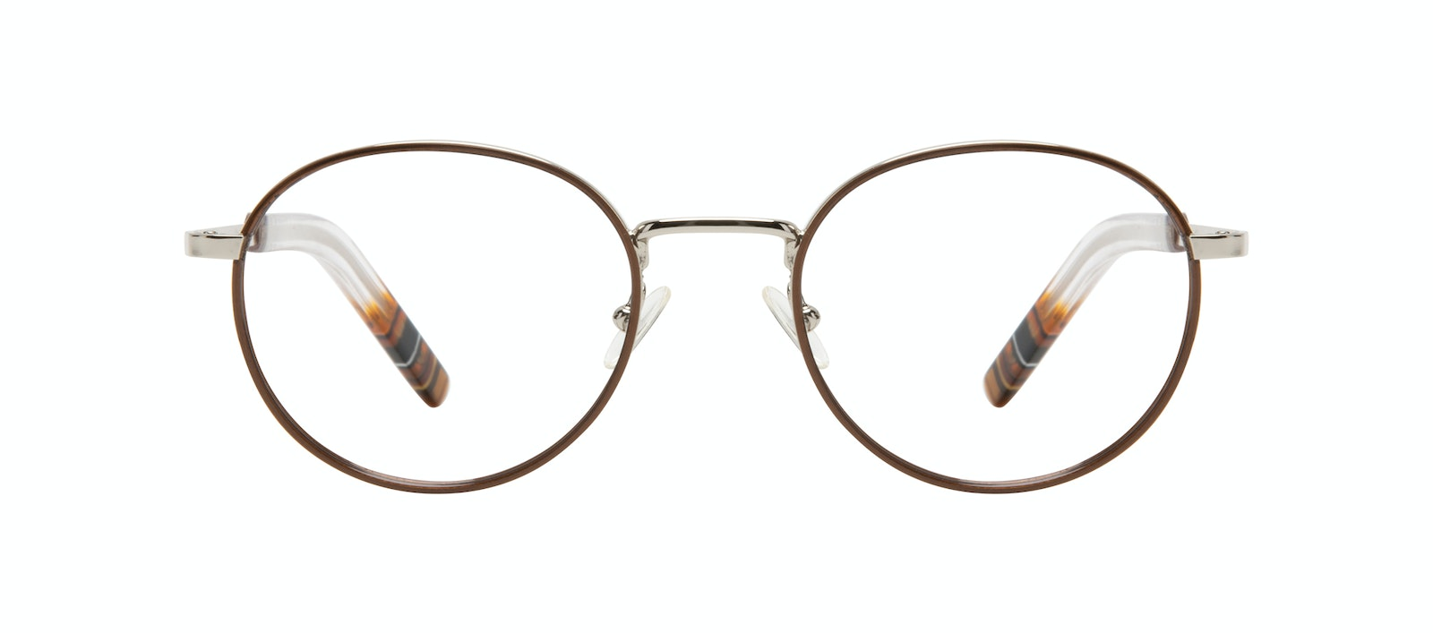 Affordable Fashion Glasses Round Eyeglasses Men Reach Brown Steel Front