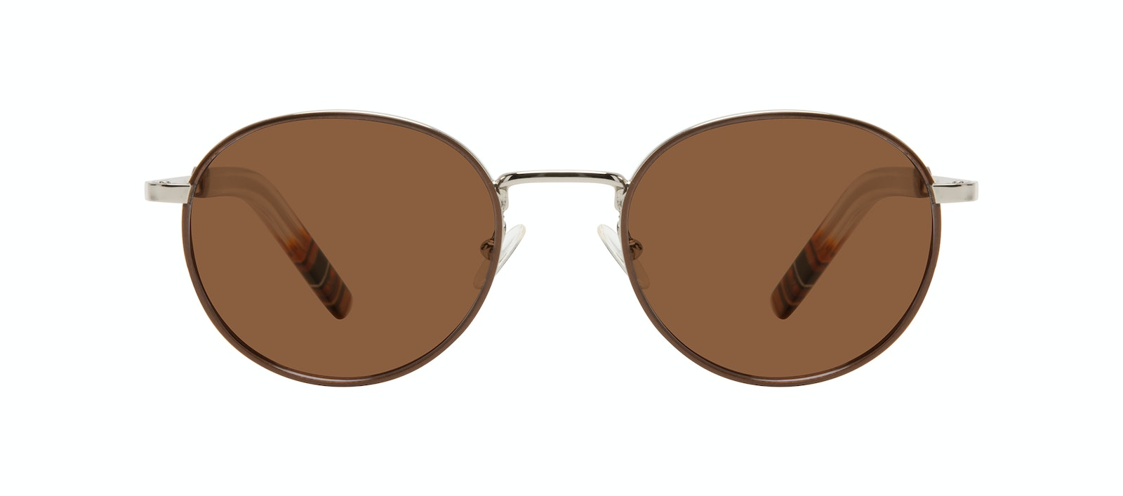Affordable Fashion Glasses Round Sunglasses Men Reach Brown Steel Front
