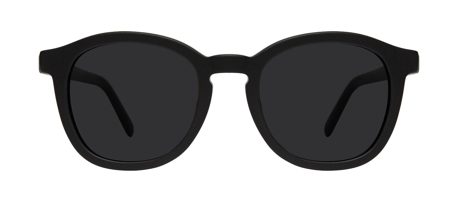 Affordable Fashion Glasses Round Sunglasses Men Script Matte Black Front
