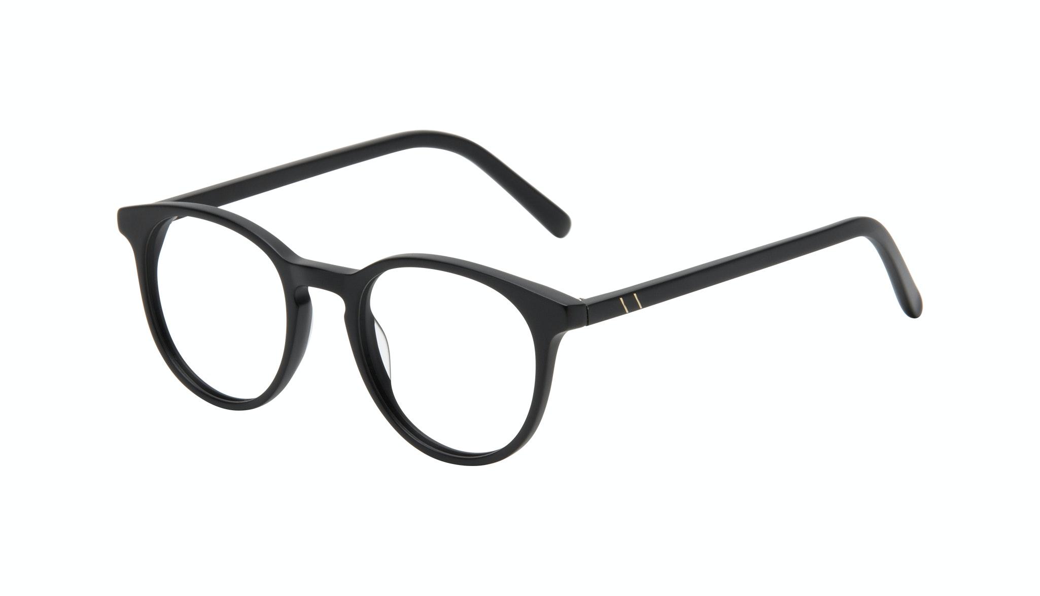 Lunettes tendance Ronde Lunettes de vue Hommes Select Black Matte Incliné