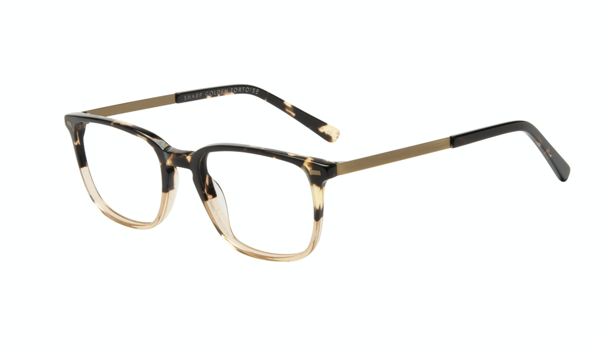 Affordable Fashion Glasses Rectangle Eyeglasses Men Sharp Golden Tortoise Tilt