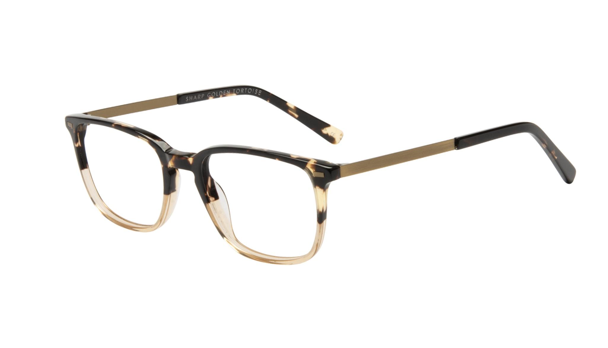 Affordable Fashion Glasses Rectangle Eyeglasses Men Sharp Golden Tortoise Tilt