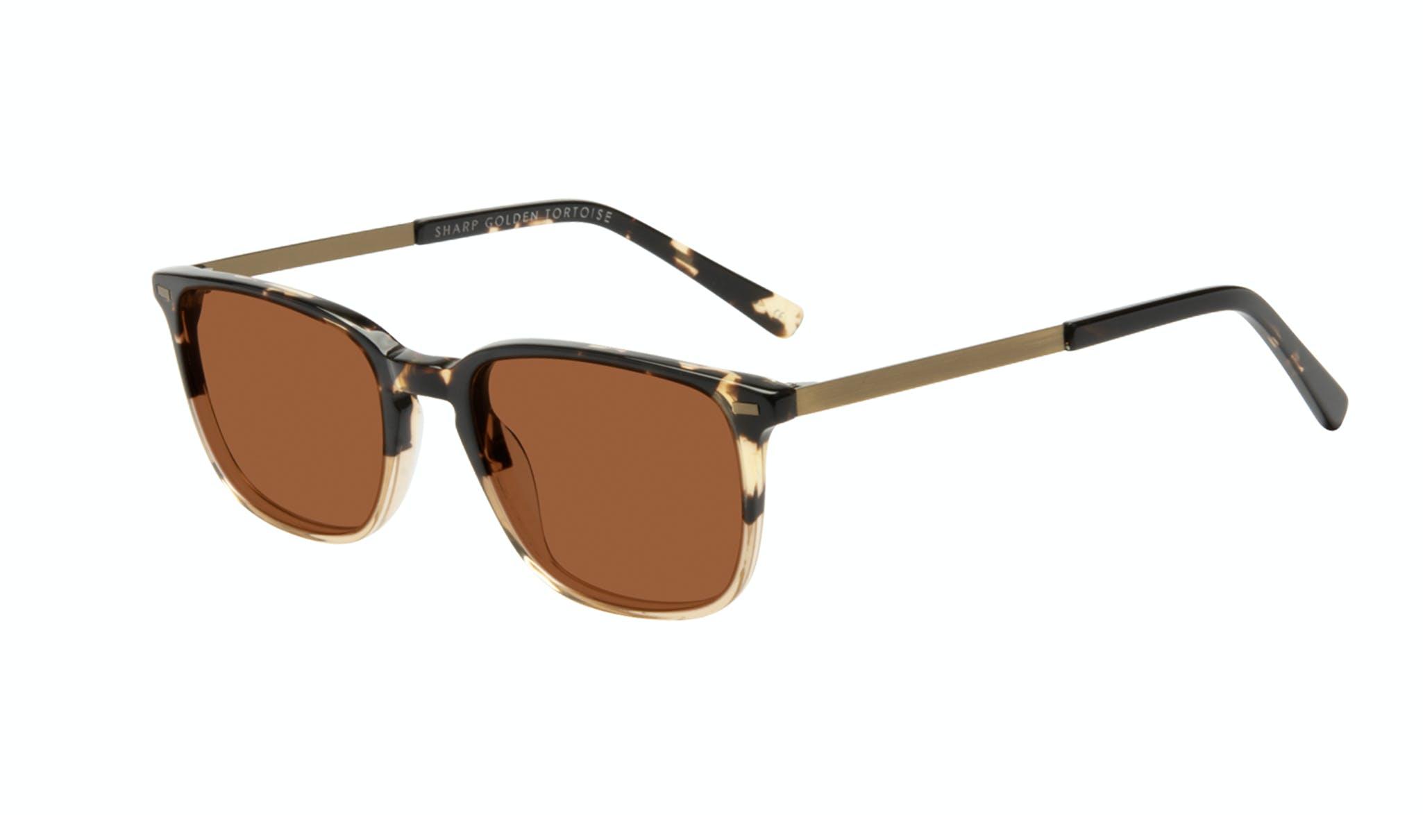 Affordable Fashion Glasses Rectangle Sunglasses Men Sharp Golden Tortoise Tilt