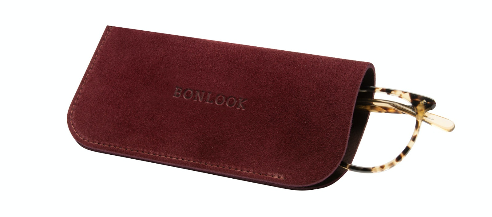 Affordable Fashion Glasses Accessory Men Women Sleeve Case  Burgundy Suede Tilt