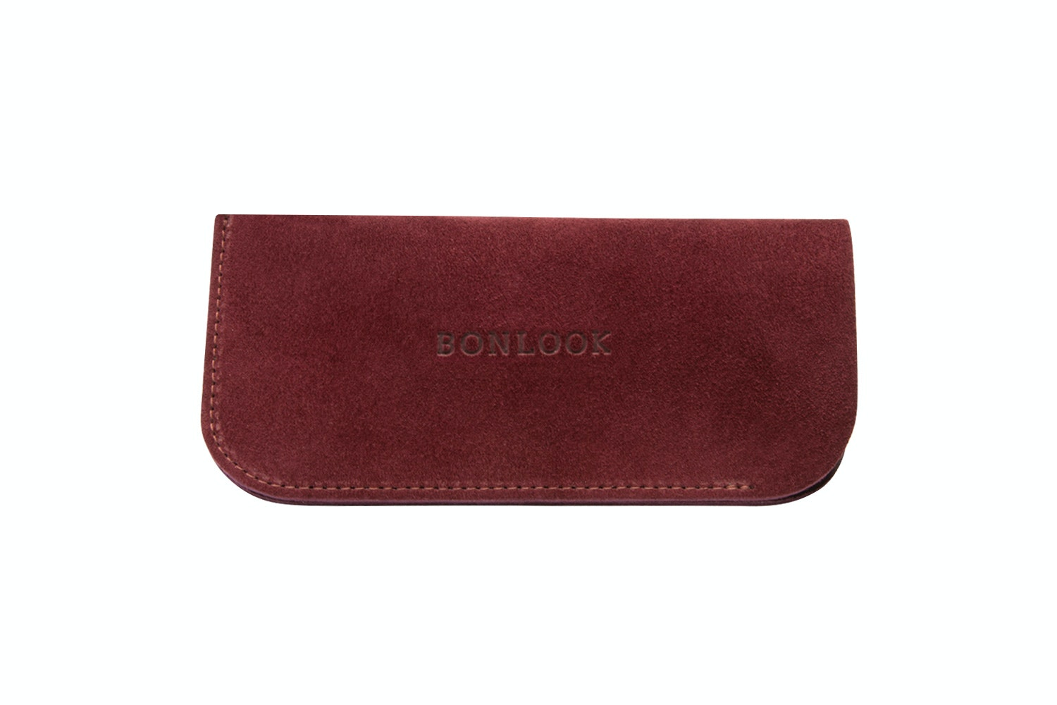 Affordable Fashion Glasses Accessory Men Women Sleeve Case  Burgundy Suede Front