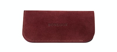Affordable Fashion Glasses Accessory Women Sleeve Case  Burgundy Suede Front