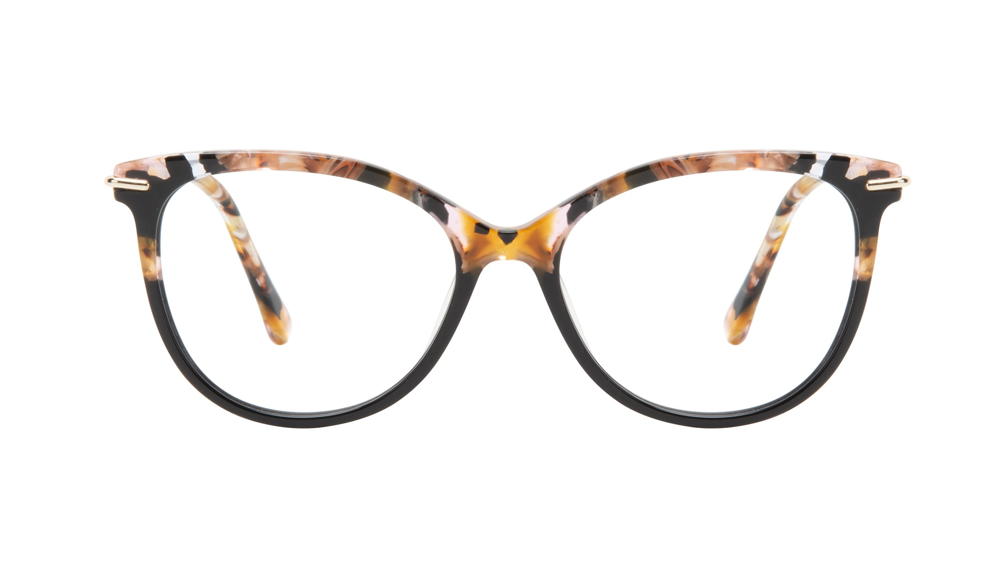 Affordable Fashion Glasses Round Eyeglasses Women Sublime Black Flake Front