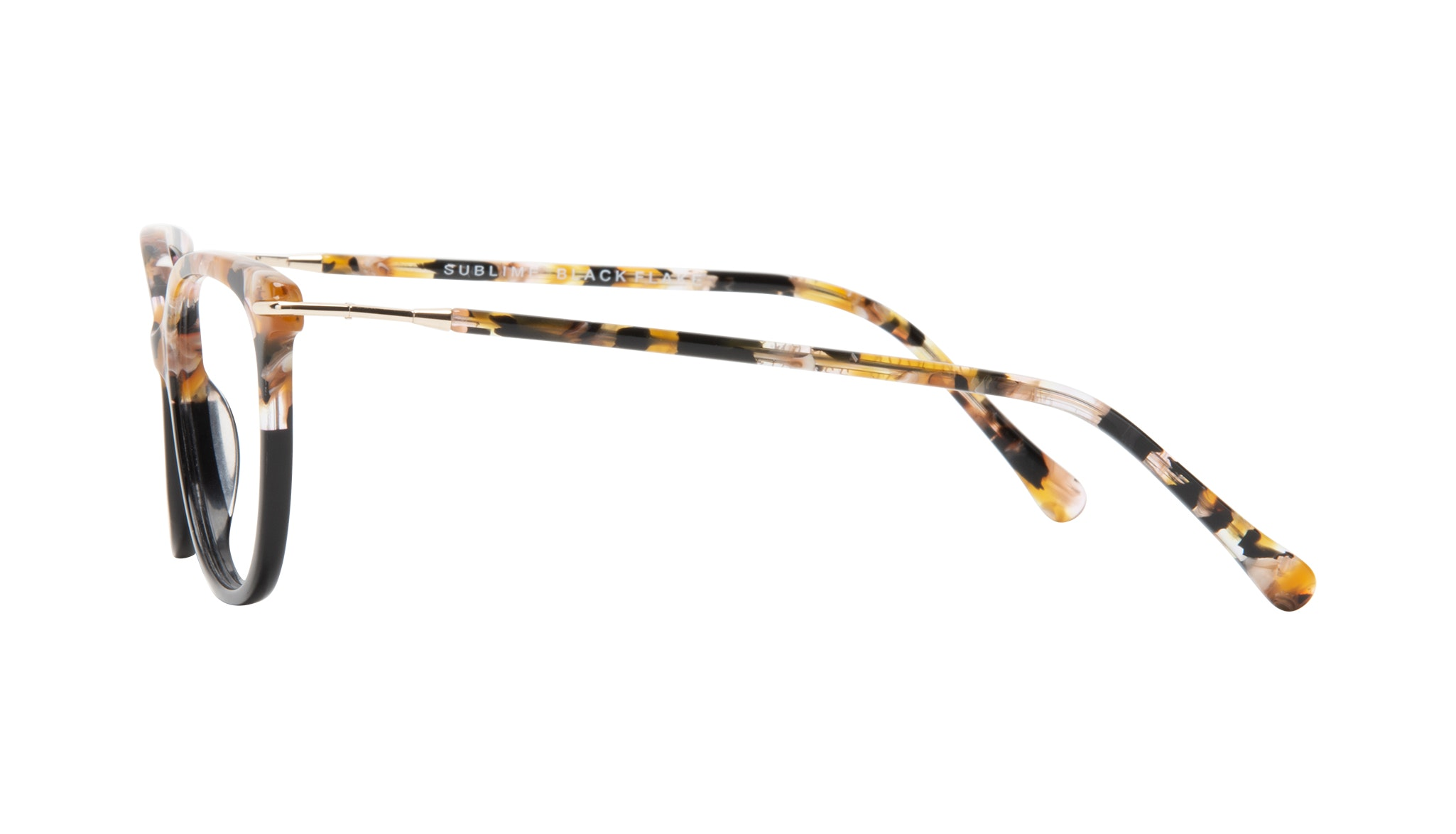 Affordable Fashion Glasses Round Eyeglasses Women Sublime Black Flake Side