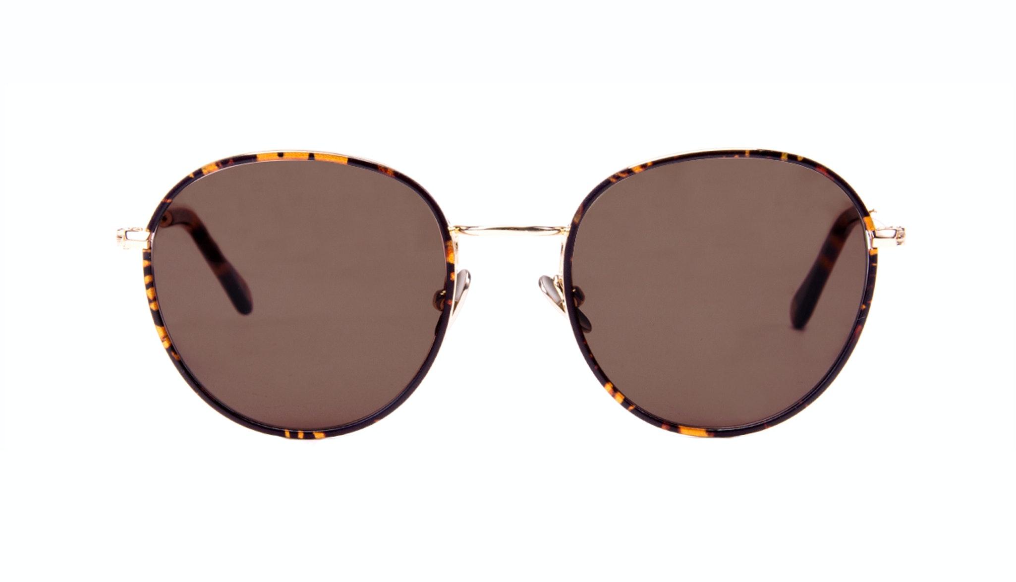 Affordable Fashion Glasses Aviator Round Sunglasses Women Subrosa Fauve Front