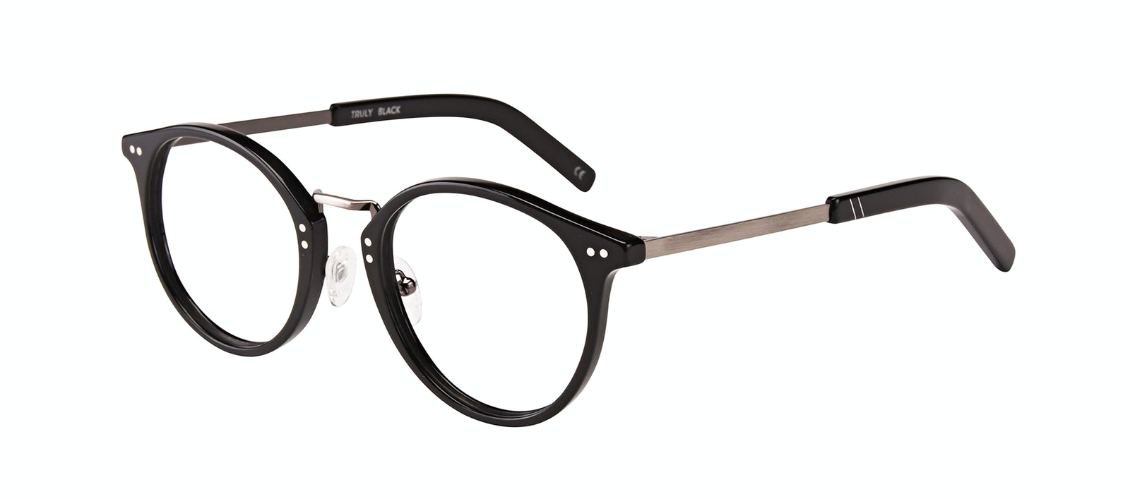 Affordable Fashion Glasses Round Eyeglasses Men Truly Black Tilt