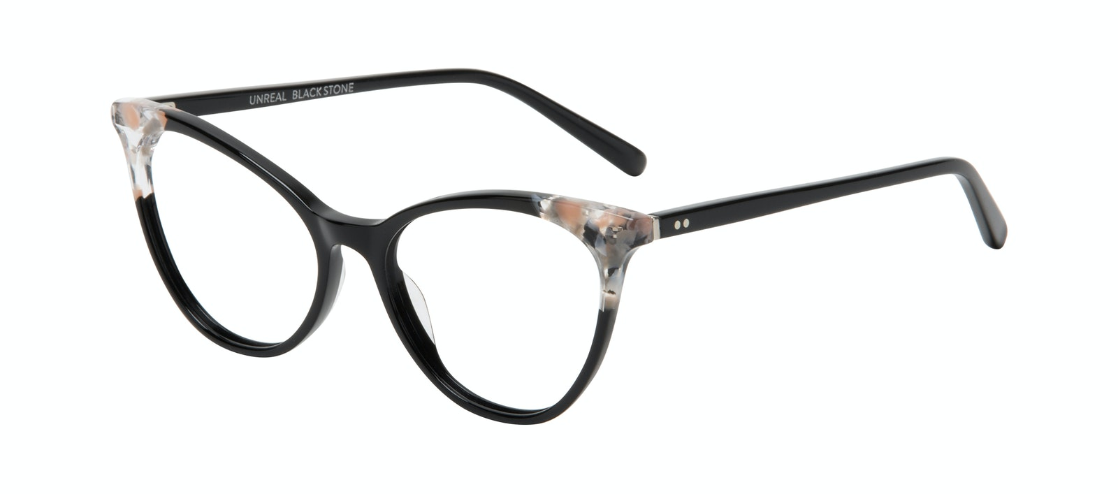 Affordable Fashion Glasses Cat Eye Eyeglasses Women Unreal Black Stone Tilt