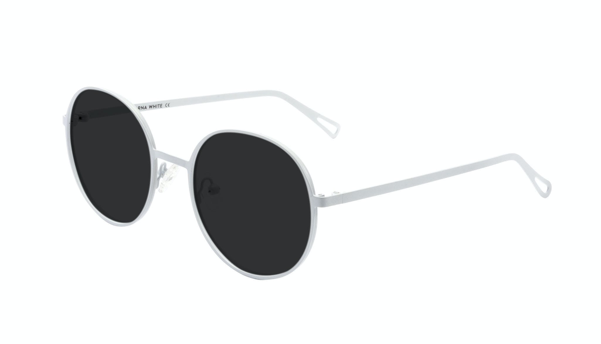 Affordable Fashion Glasses Round Sunglasses Men Women Varna White Tilt