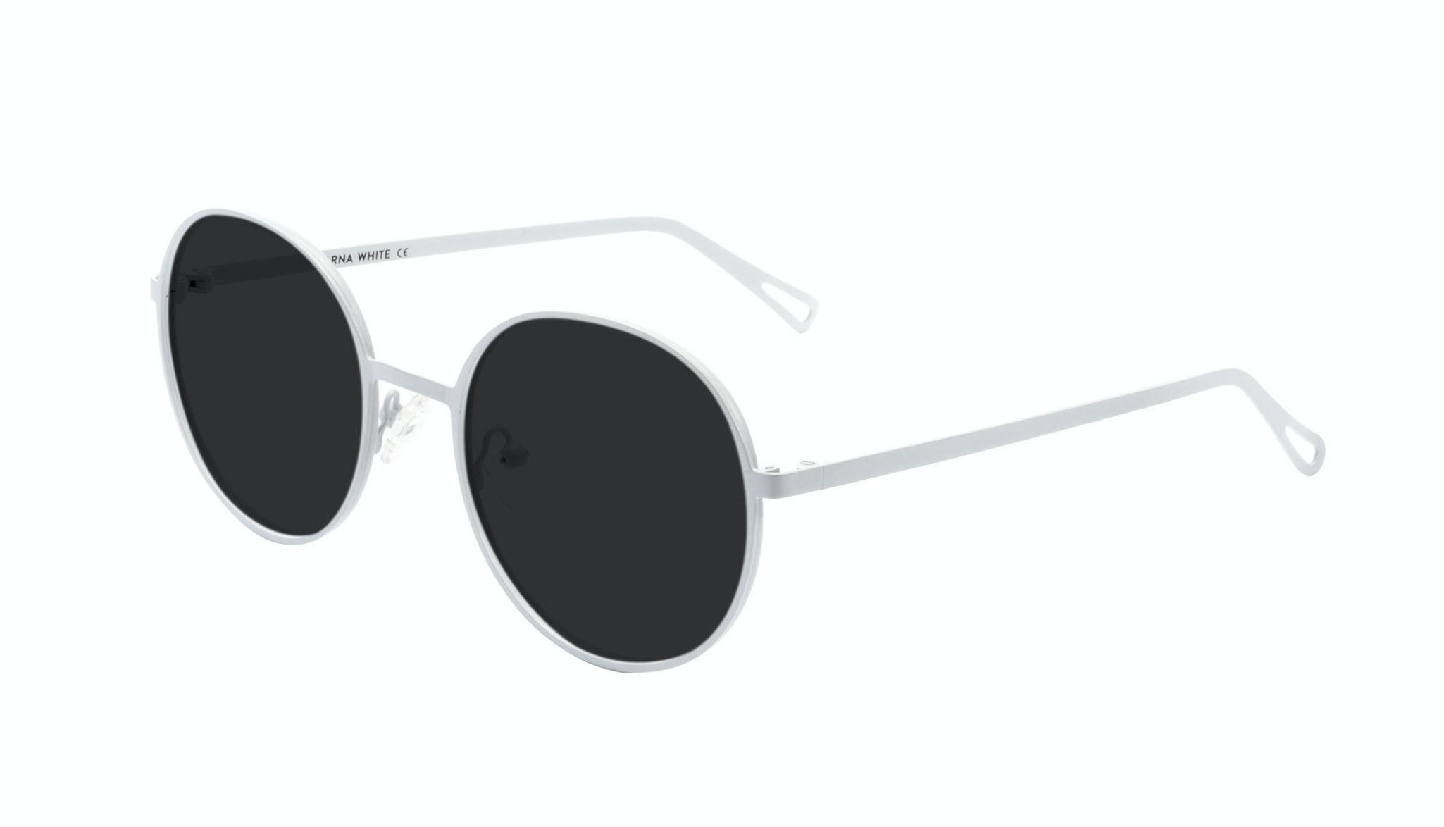Affordable Fashion Glasses Round Sunglasses Men Women Varna White Tilt