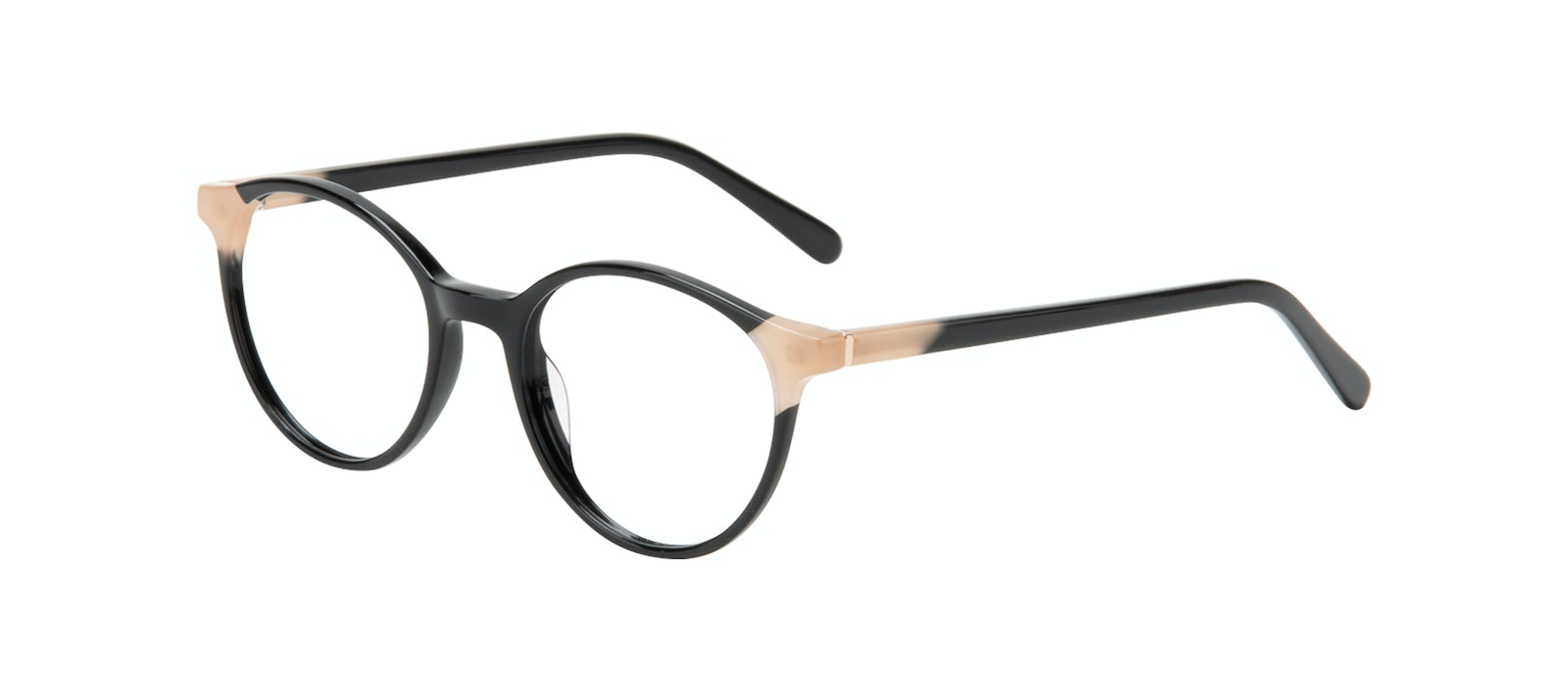 Affordable Fashion Glasses Round Eyeglasses Women Vivid Black Ivory Tilt