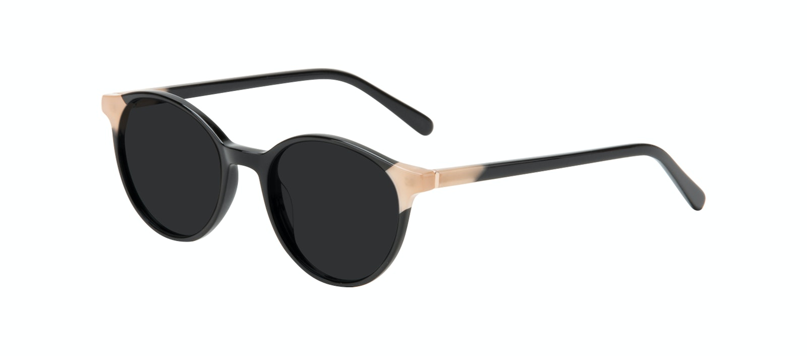 Affordable Fashion Glasses Round Sunglasses Women Vivid Black Ivory Tilt