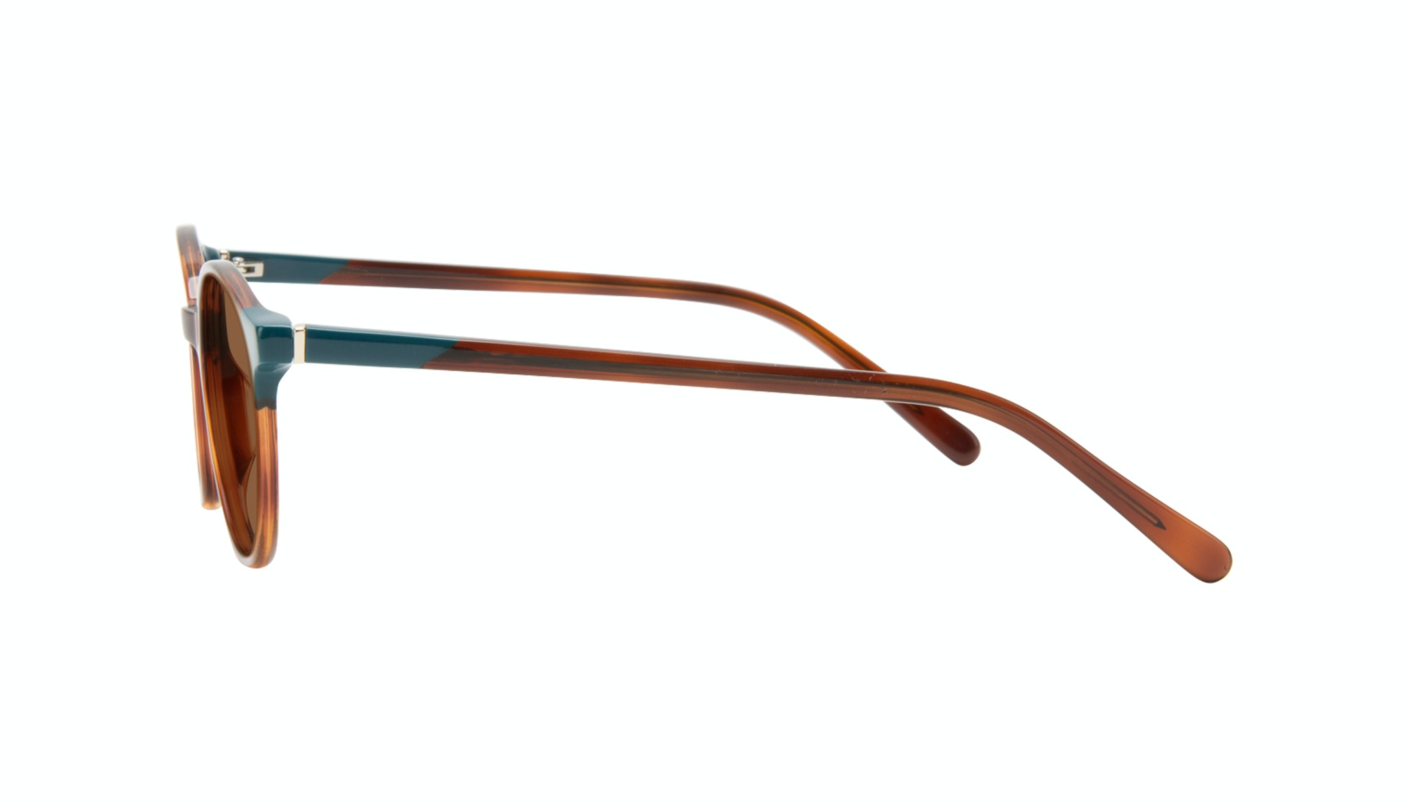 Affordable Fashion Glasses Round Sunglasses Women Vivid Teal Tort Side